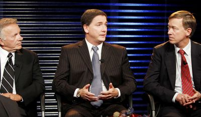 ASSOCIATED PRESS Former U.S. Rep. Tom Tancredo (left) debates the issues earlier this month with the other major Colorado gubernatorial candidates, Republican Dan Maes (center) and Democrat John Hickenlooper. Mr. Tancredo got the go-ahead Tuesday to run on the American Constitution Party ticket.