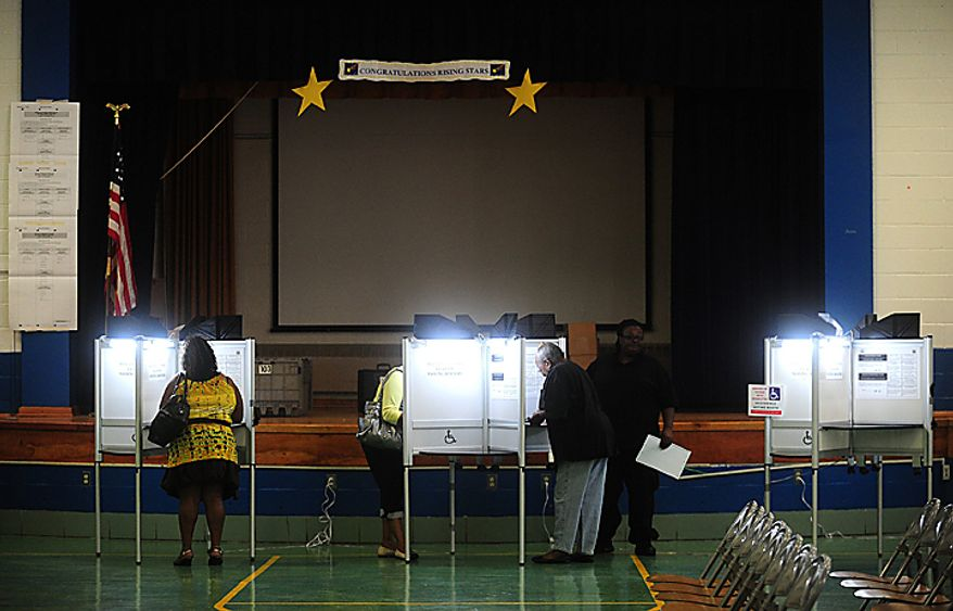 D.C. residents cast their ballots during the D.C. Mayoral Primary Election's at Plummer Elementary School in Washington on September 14, 2010. UPI/Kevin Dietsch