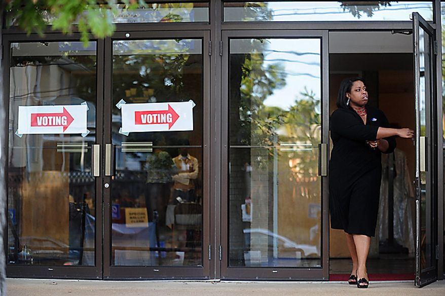 A D.C. resident leaves a voting station during the D.C. Mayoral Primary Election's in Washington on September 14, 2010. UPI/Kevin Dietsch