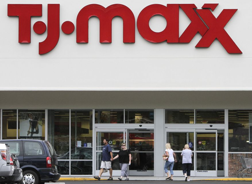 Shoppers head into a TJ Maxx store in Barre, Vt., on Monday, Aug. 16, 2010. The Commerce Department reported on Tuesday that retail sales rose 0.4 percent in August, the best advance since March.