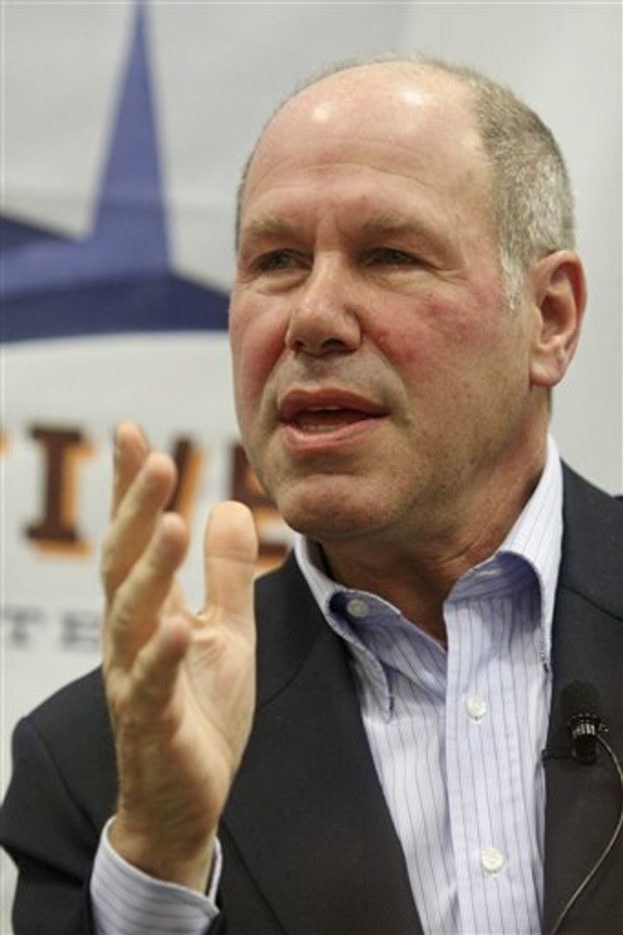 FILE - In this March 11, 2008 file photo, former Disney chief Michael Eisner participates in a question and answer panel at the SXSW Film and Interactive Festival in Austin, Texas. Eisner on Tuesday, Sept. 14, 2010, downplayed reports that he is being considered to head media company Tribune Co. after it exits bankruptcy protection.(AP Photo/Jack Plunkett, File)