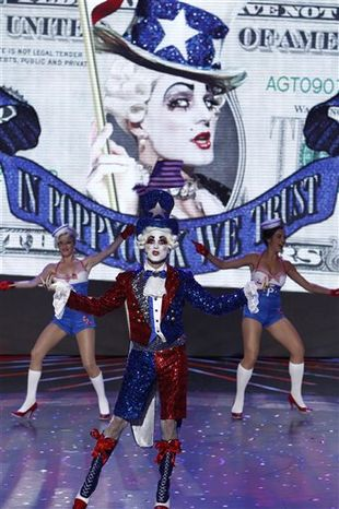"In this publicity image released by NBC, contestant Prince Poppycock performs on ""America's Got Talent,"" in Los Angeles. (AP Photo/NBC, Trae Patton)"