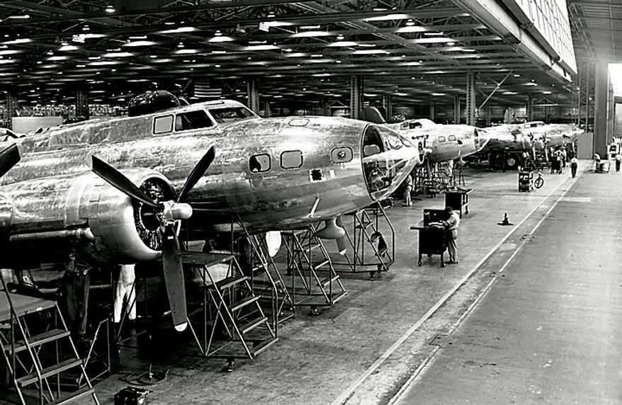"""In this 1942 photo from the Boeing Co. archive, B-17E Flying Fortress airplanes are shown being built at Boeing's historic """"Plant 2"""" in Seattle. After giving birth to some of the world's most significant aircraft, the outdated facility is scheduled to be torn down in the fall of 2010. (AP Photo/Courtesy Boeing Co.)"""