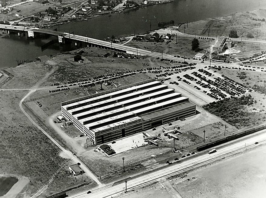 """In this 1937 photo from the Boeing Co. archive, Boeing's historic """"Plant 2,"""" which opened in 1936, is shown in Seattle. After giving birth to some of the world's most significant aircraft, the outdated facility is scheduled to be torn down in the fall of 2010. (AP Photo/Courtesy Boeing Co.)"""