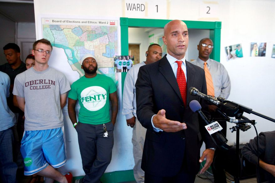 "D.C. Mayor Adrian M. Fenty concedes defeat Wednesday in his bid for another term. At campaign headquarters, he called it the ""beginning of the end of a great 10-year run."""