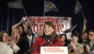 Republican Senate candidate Christine O'Donnell smiles while addressing supporters after winning the Republican nomination for Senate in Delaware, Tuesday, Sept. 14, 2010, in Dover, Ms. O'Donnell upset Rep. Mike Castle. (AP Photo/Rob Carr)