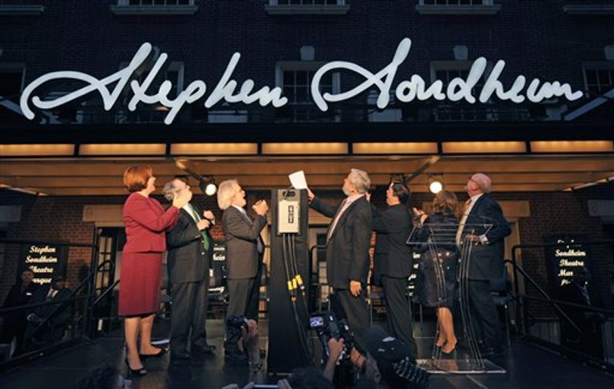 Nathan Lane speaks at the lighting of the marquee on the Stephen Sondheim Theatre on West 43rd St. in Times Square, Wednesday, Sept. 15, 2010 in New York. (AP Photo/Henny Ray Abrams)