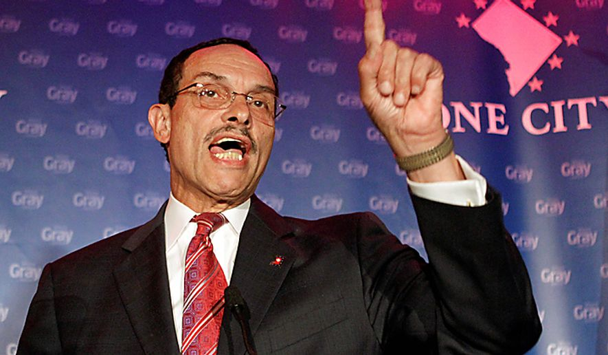 ** FILE ** D.C. Council Chairman Vincent C. Gray speaks in Washington early on Wednesday, Sept. 15, 2010. Voters in the nation's capital chose Mr. Gray as the Democratic mayoral candidate over current Mayor Adrian M. Fenty, a backer of education reform who some said had become out of touch with his constituency. (AP Photo/Jacquelyn Martin)