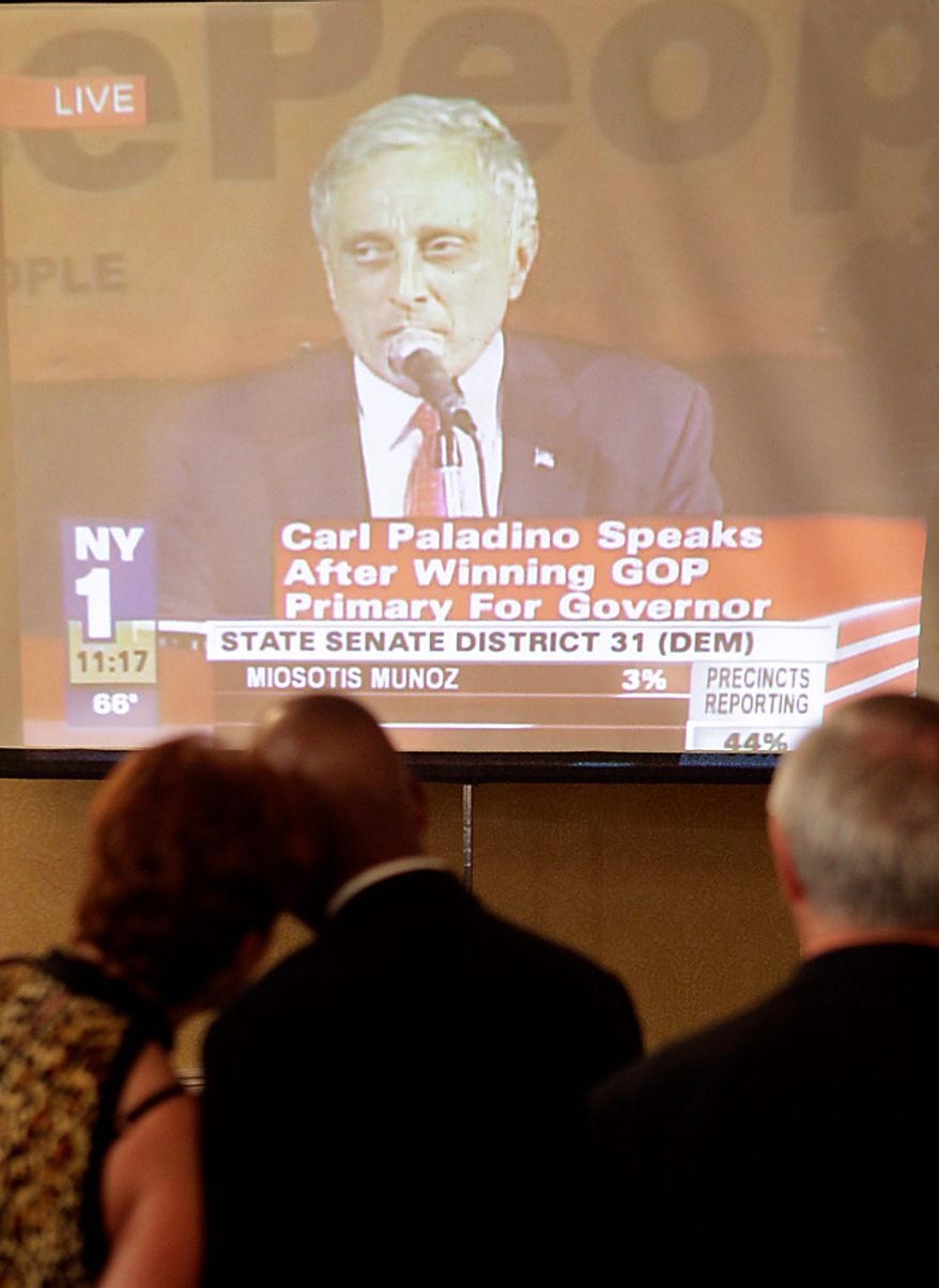 Supporters of New York Republican gubernatorial candidate Rick Lazio watch as Carl Paladino delivers his acceptance speech, Tuesday, Sept. 14, 2010, in New York. (AP Photo/Frank Franklin II)