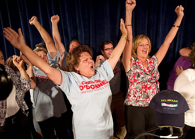 Supporters of Senate candidate Christine O'Donnell celebrate after she won the Republican nomination for Senate in Delaware, Tuesday, Sept. 14, 2010, in Dover, Del. O'Donnell upset Rep. Mike Castle. (AP Photo/Rob Carr)