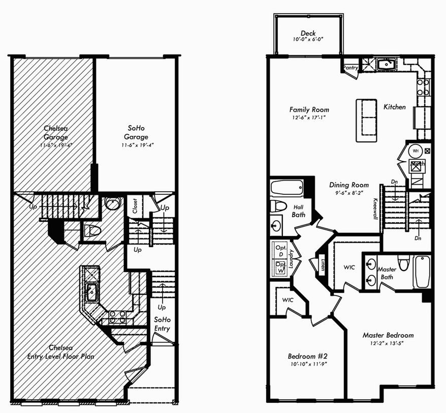The Soho has a bedroom wing with two bedrooms and two baths, plus an open living area with a family room, dining area, center-island kitchen and sliding glass door to a deck.