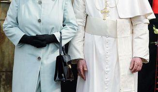 ASSOCIATED PRESS Britain's Queen Elizabeth II and Pope Benedict XVI leave the Palace of Holyroodhouse in Edinburgh, Scotland, after a formal welcome Thursday, his first day of a four-day visit to the United Kingdom. The pope acknowledged that the Catholic Church failed to act quickly or decisively to deal with child molestations by priests.