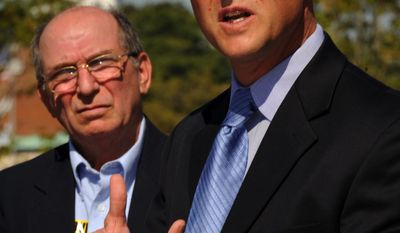 Rep.-to-be Frank Kratovil Jr. (right), Maryland Democrat, speaks after being endorsed by then-Rep. Wayne T. Gilchrest, his Republican predecessor, for the 1st Congressional District seat, in Annapolis, Md., in September 2008. Mr. Gilchrest had lost his primary to Mr. Harris.