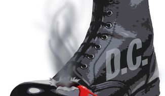Illustration: D.C. boot by Greg Groesch for The Washington Times