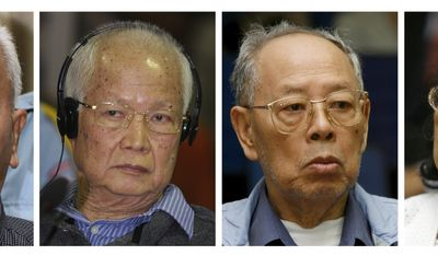 Cambodia's U.N.-backed genocide tribunal has indicted the four top surviving leaders of the Khmer Rouge regime, from left to right, Nuon Chea, 84, the group's ideologist; former head of state and public face of the regime, Khieu Samphan, 79; former Foreign Minister Ieng Sary; and his wife Ieng Thirith, ex-minister for social affairs, both in their 80, for 1.7 million deaths in the 1970s. (AP Photo/Heng Sinith/Chor Sokunthea, File)