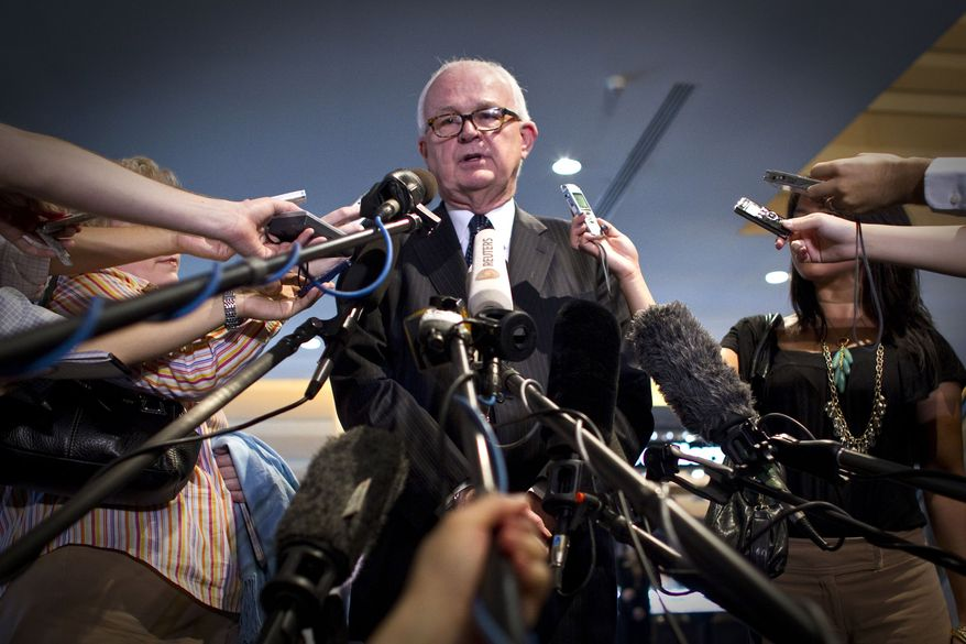 Ambassador Stephen Bosworth, U.S. special envoy to North Korea, speaks to reporters in Beijing on Thursday, Sept. 16, 2010. Mr. Bosworth is in China for talks with Chinese officials on restarting stalled negotiations on North Korea's nuclear disarmament. (AP Photo/Alexander F. Yuan)