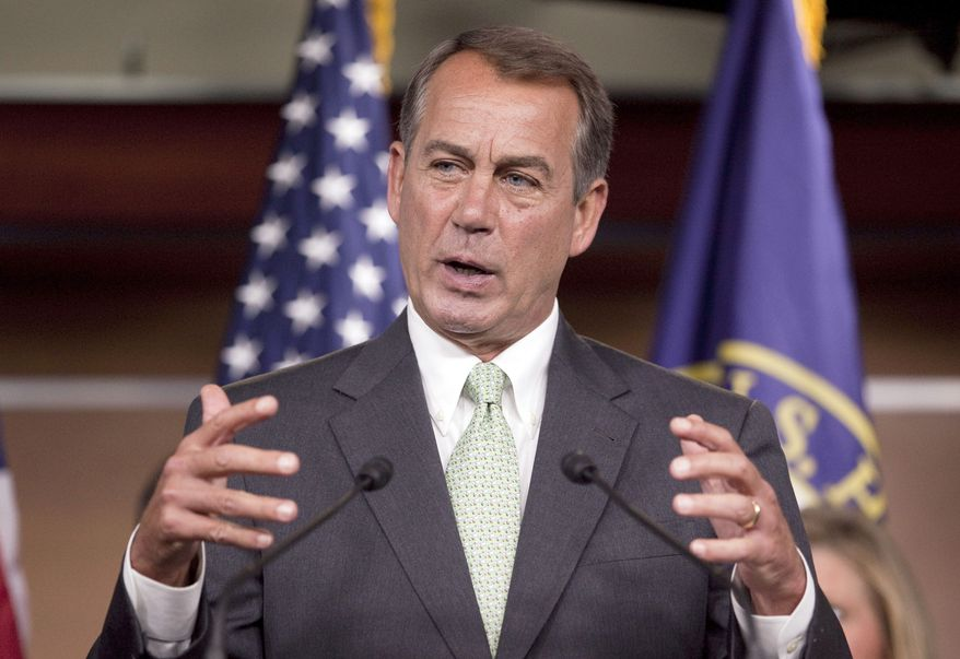 House Minority Leader John Boehner of Ohio at a press conference with Republican leaders, Wednesday, Sept. 15, 2010, on Capitol Hill in Washington. (AP Photo/Evan Vucci)
