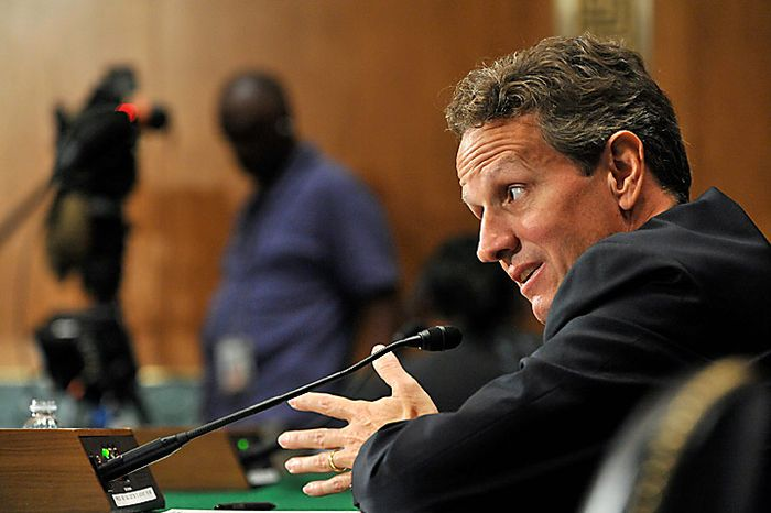 """Timothy Geithner, U.S. treasury secretary, testifies at a Senate Banking Committee hearing in Washington, D.C., U.S., on Thursday, Sept. 16, 2010. Geithner said China needs to allow a """"significant, sustained"""" rise in its currency as lawmakers called for the U.S. to toughen its stance on the yuan. Photographer: Jay Mallin/Bloomberg"""