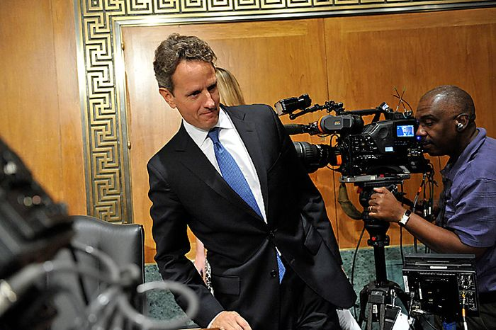 "Timothy Geithner, U.S. treasury secretary, arrives for a Senate Banking Committee hearing in Washington, D.C., U.S., on Thursday, Sept. 16, 2010. Geithner said China needs to allow a ""significant, sustained"" rise in its currency as lawmakers called for the U.S. to toughen its stan"