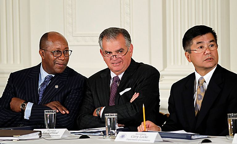 From left, U.S. Trade Representative Ron Kirk, Transportation Secretary Ray LaHood, and Commerce Secretary Gary Locke, attend a meeting of President Obama's export council,  Thursday, Sept. 16, 2010, in the East Room of the White House in Washington. Less than two months before congressional elections, and with the economy a top issue for voters, Obama is turning his attention to trade, highlighting his goal of doubling U.S. exports over five years to drive economic growth. (AP Photo/J. Scott Applewhite)