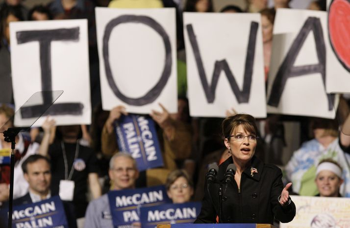 In this Oct. 25, 2008, file photo, then-Republican vice presidential candidate, Alaska Gov. Sarah Palin, speaks in Des Moines, Iowa. The 2008 GOP vice presidential nominee will be the big draw at Friday's Reagan Dinner in Des Moines, the Iowa Republican Party's biggest fundraiser. The question that will be on everyone's mind is whether she'll run for president in 2012. (AP Photo/Charlie Neibergall, File)