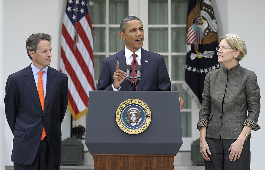 President Barack Obama, accompanied by Elizabeth Warren, right, and Treasury Secretary Timothy Geithner, left, announces that Warren will head the Consumer Financial Protection Bureau, Friday, Sept. 17, 2010, during an event in the Rose Garden of the White House in Washington. (AP Photo/Susan Walsh)
