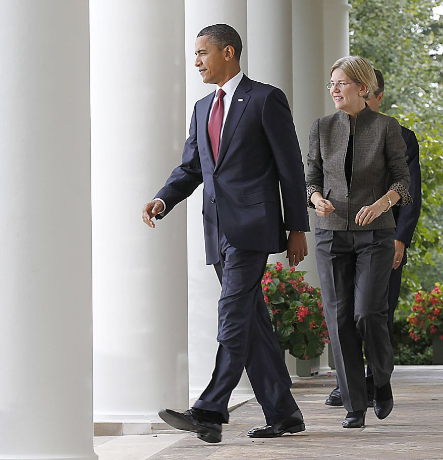 President Barack Obama, followed by Elizabeth Warren and Treasury Secretary Timothy Geithner, walks to the Rose Garden of the White House in Washington, Friday, Sept. 17, 2010, to announce that Warren will head the Consumer Financial Protection Bureau.  (AP Photo/Pablo Martinez Monsivais)