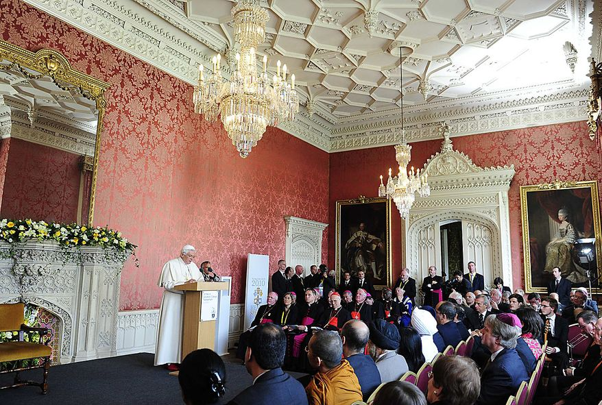 Pope Benedict XVI speaks at a meeting of religious leaders at St Mary's University College Chapel at Twickenham in west London, Friday, Sept. 17, 2010. The Pope is on a four-day visit to England and Scotland. (AP Photo/Toby Melville, Pool)