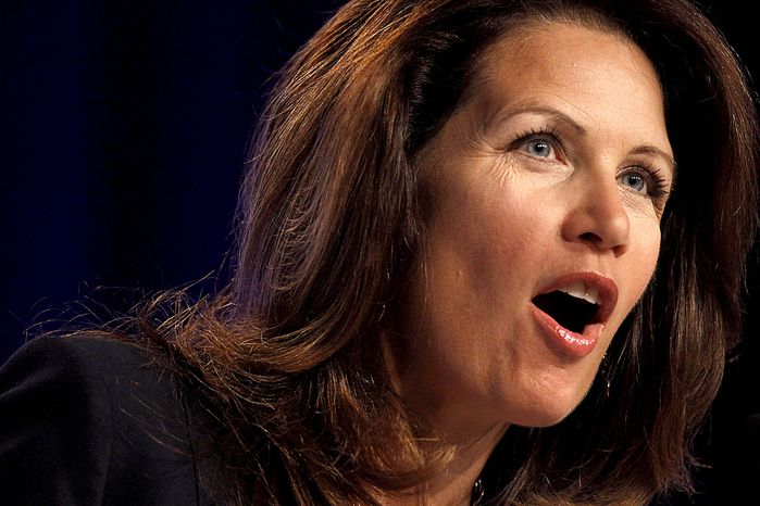 Rep. Michele Bachmann, Minnesota Republican, speaks to the Values Voter Summit, sponsored by the Family Research Council Action, on Friday, Sept. 17, 2010, in Washington. (AP Photo/Jacquelyn Martin)