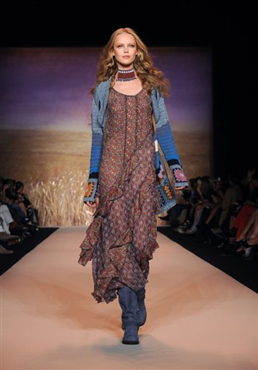 The Anna Sui spring 2011 collection is shown during Fashion Week in New York, Wednesday, Sept. 15, 2010. (AP Photo/Diane Bondareff)