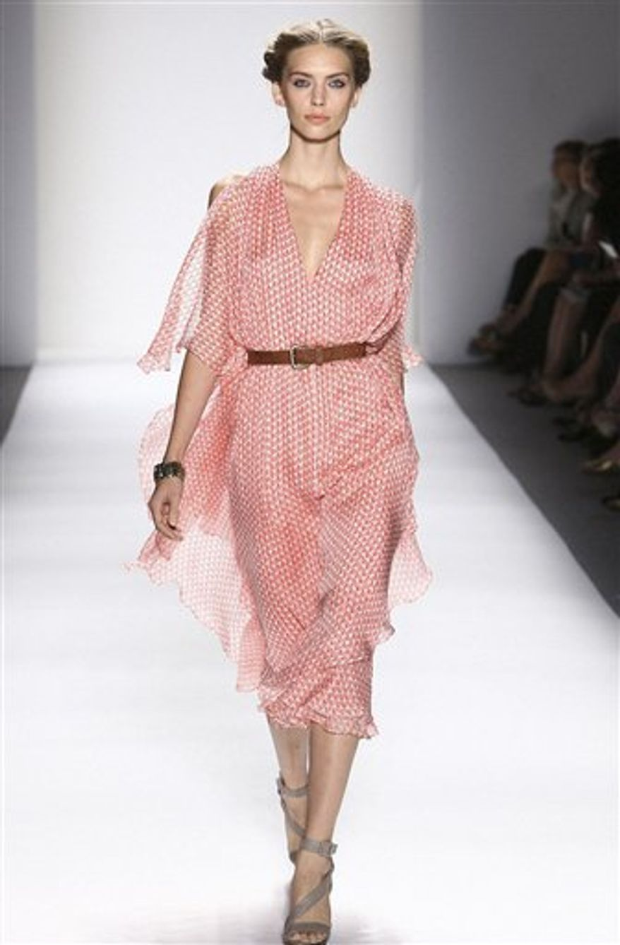 This Tuesday, Sept. 14, 2010 photo released by Luca Luca shows the Luca Luca spring 2011 collection modeled during Fashion Week in New York.  (AP Photo/Luca Luca)  NO SALES; FOR EDITORIAL USE ONLY