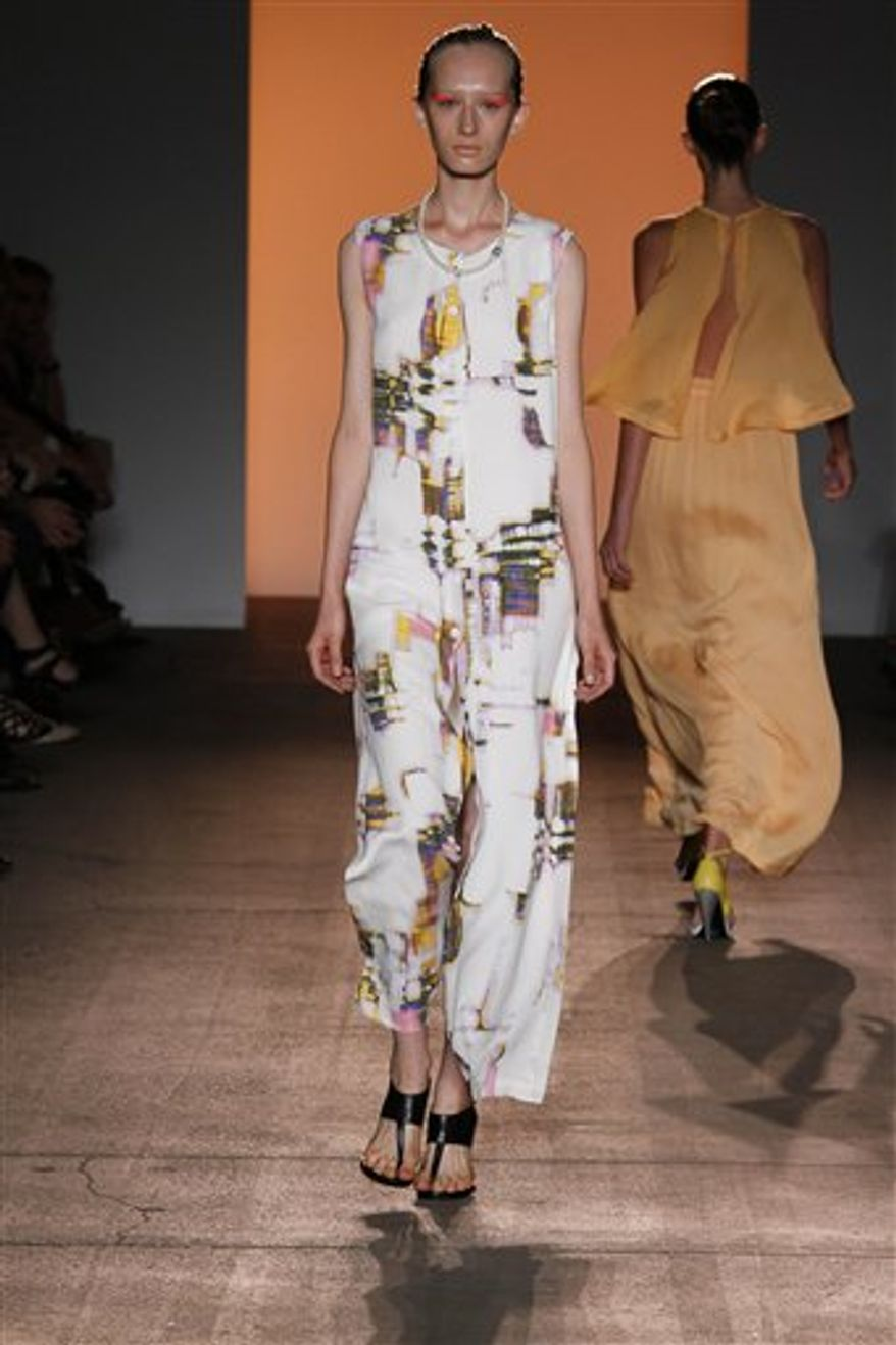 This Sept. 14, 2010 photo released by Dan and Corina Lecca shows the Yigal Azrouel spring 2011 collection modeled during Fashion Week in New York.  (AP Photo/Dan and Corina Lecca)  NO SALES