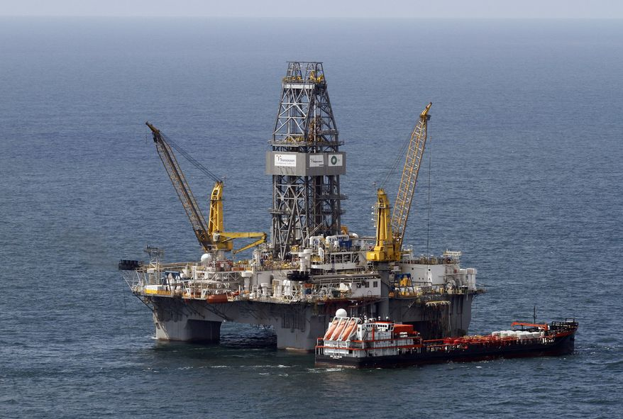 FILE - The Transocean Development Driller III, the rig responsible for drilling the main relief well at the site of the Deepwater Horizon oil wellhead, is seen on the Gulf of Mexico near the coast of Louisiana, in this Aug. 14, 2010 file photo. A relief well drilled nearly 2.5 miles beneath the floor of the Gulf of Mexico has intersected BP's blown-out well, a prelude to plugging it once and for all, the U.S government said late Thursday Sept. 16, 2010. The final seal should happen by Sunday. (AP Photo/Patrick Semansky, File)