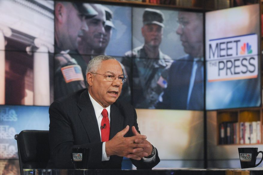 "Former Secretary of State Colin Powell, who as an Army general also was chairman of the joint chiefs of staff, speaks on NBC's ""Meet the Press"" in Washington on Sunday, Sept. 19, 2010. (AP Photo/NBC, William B. Plowman)"
