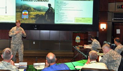 """Lt. Col. Mark Elfendahl (left) briefs members of U.S. Army Forces Command to provide information on the new """"Army Operating Concept"""" developed by U.S. Army Training and Doctrine Command. (U.S. Army)"""