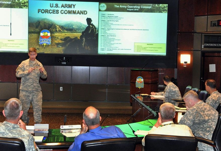 "Lt. Col. Mark Elfendahl (left) briefs members of U.S. Army Forces Command to provide information on the new ""Army Operating Concept"" developed by U.S. Army Training and Doctrine Command. (U.S. Army)"
