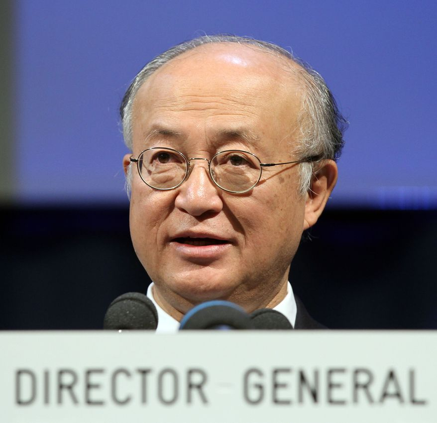 Yukiya Amano of Japan, director general of the International Atomic Energy Agency, addresses the general conference of the IAEA at the International Center in Vienna, Austria, on Monday, Sept. 20, 2010. (AP Photo/Ronald Zak)