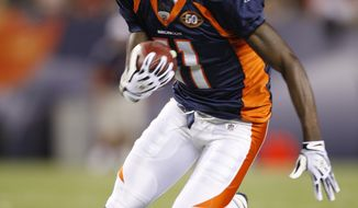ASSOCIATED PRESS In this Sept. 3, 2009, photo, Denver Broncos wide receiver Kenny McKinley runs during a preseason NFL football game against the Arizona Cardinals in Denver. The Arapahoe County Sheriff says McKinley has been found dead in his Centennial, Colo., home Monday, Sept. 20, 2010. Sheriff Grayson Robinson says detectives are investigating the death.
