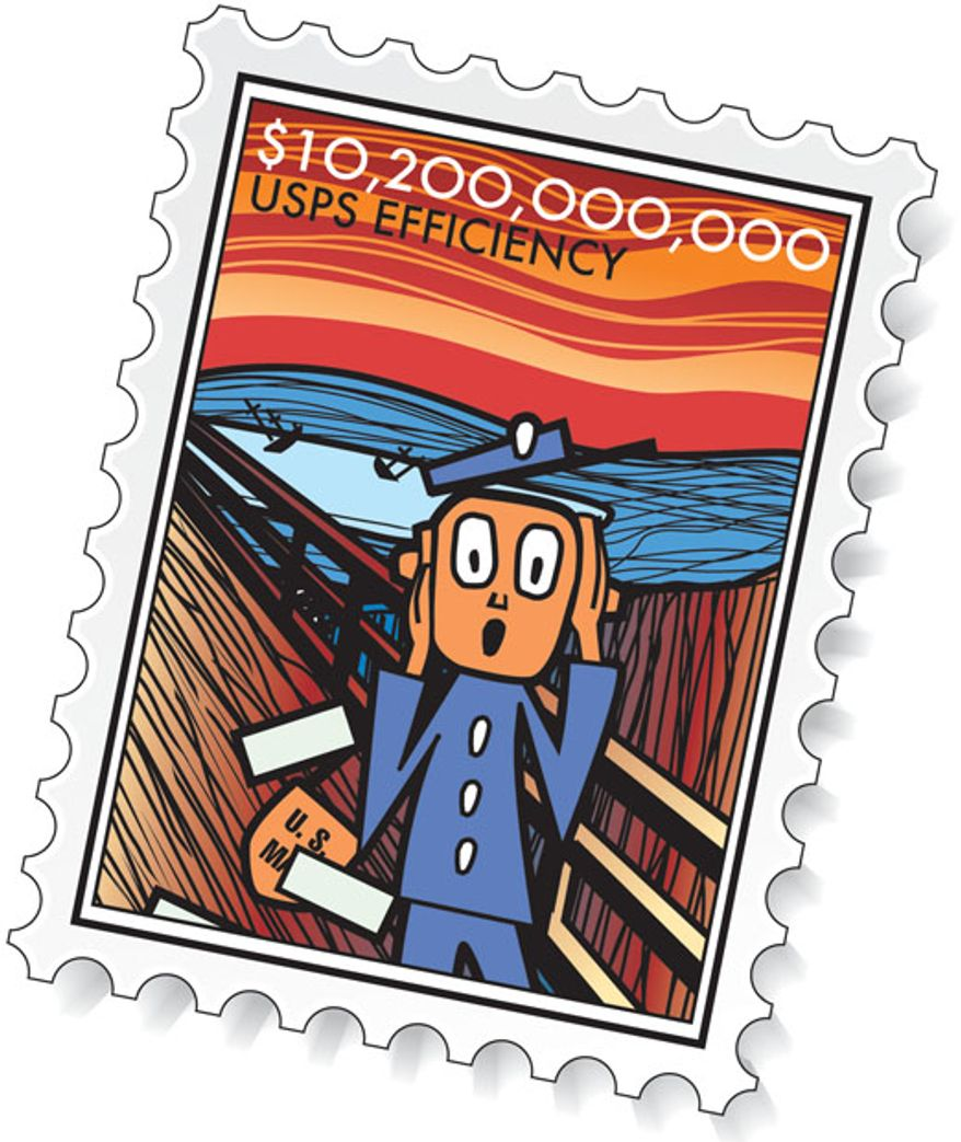 Illustration: USPS efficiency by Linas Garsys for The Washington Times