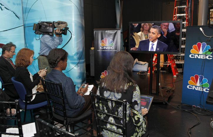 President Obama discusses jobs and the economy during a town hall-style gathering hosted by CNBC, Monday, Sept. 20, 2010, at the Newseum in Washington. The White House press pool, reporters who accompany the president, were not allowed in the event and wa