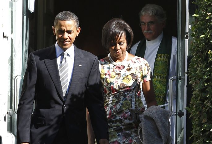 President Obama and first lady Michelle Obama leave St. John's Episcopal Church as Rev. Luis Leon follows after services in Washington, Sunday, Sept. 19, 2010. (AP Photo/Charles Dharapak)