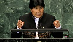 ** FILE ** Bolivian President Evo Morales addresses a summit on the Millennium Development Goals at United Nations headquarters in New York on Monday, Sept. 20, 2010. (AP Photo/Richard Drew)