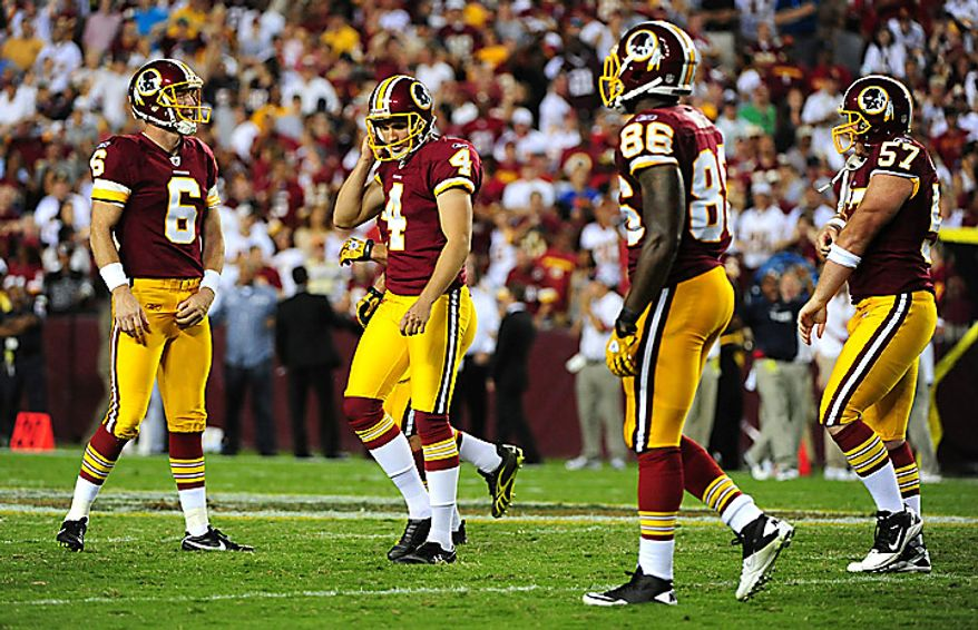Washington Redskins' kicker Graham Gano (4) reacts after missing a 52-yard field goal during overtime against the Houston Texans at FedEx Field in Washington on September 19, 2010. The Texans defeated the Redskins 30-27.   UPI/Kevin Dietsch