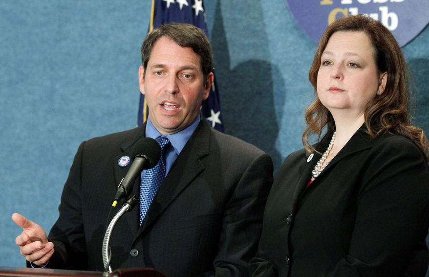 ** FILE ** Tea Party Patriots national coordinators Mark Meckler and Jenny Beth Martin. (Associated Press)