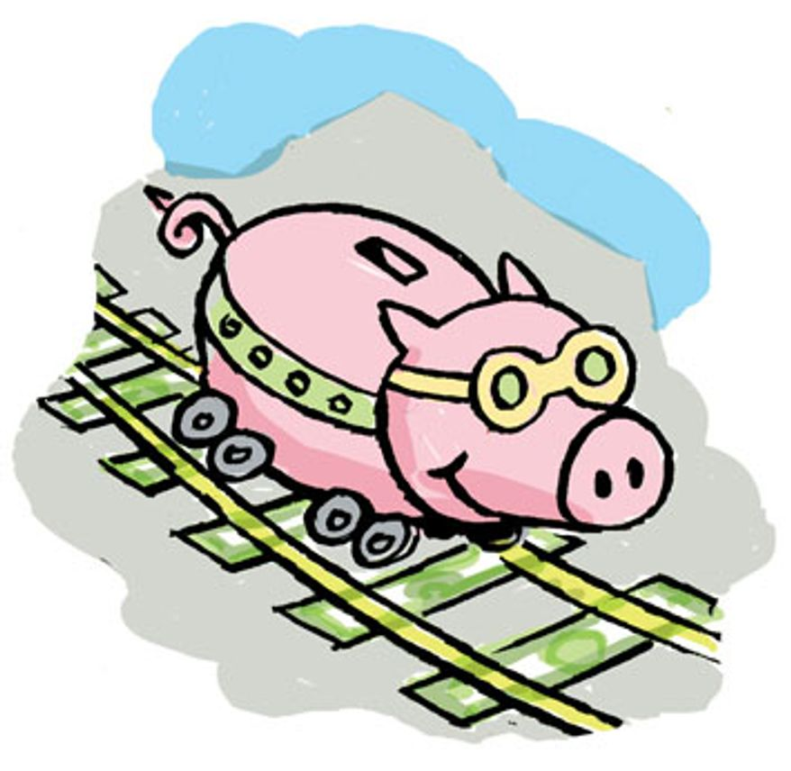 Illustration: Rail pork by Alexander Hunter for The Washington Times