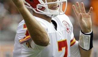 Kansas City Chiefs quarterback Matt Cassel passes in the second quarter of an NFL football game against the Cleveland Browns Sunday, Sept. 19, 2010, in Cleveland. (AP Photo/Tony Dejak)