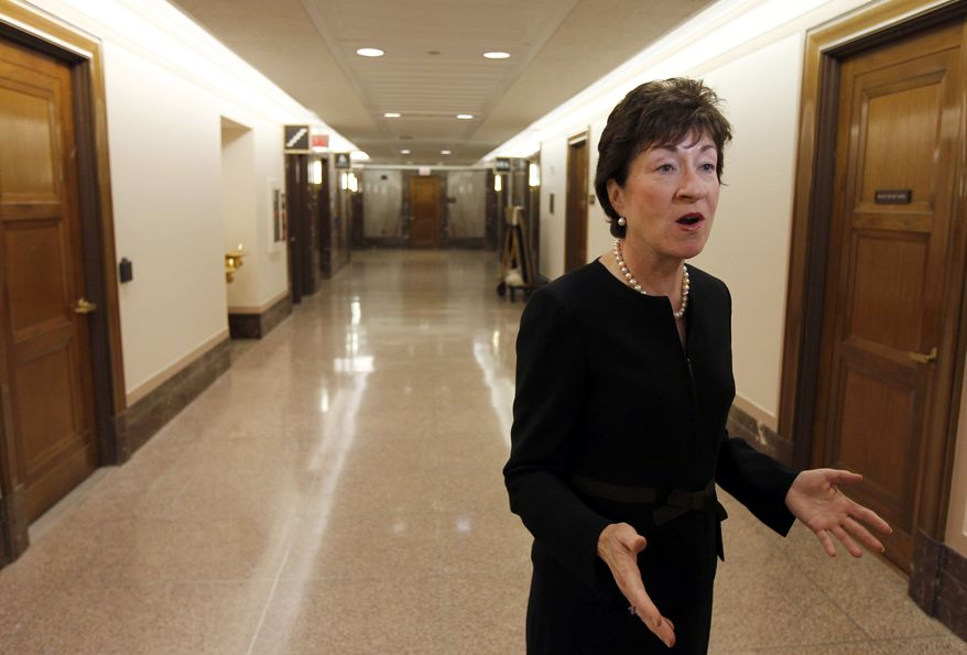 "Sen. Susan Collins, Maine Republican, voted against advancing the bill that would have repealed ""don't ask, don't tell"" because Democrats would not agree to extend debate so that her GOP colleagues could weigh in on other issues. (AP Photo/Alex Brandon)"