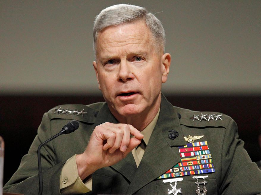 Marine Corps Gen. James F. Amos made it clear that he opposes allowing open homosexuals in the military. (Associated Press)