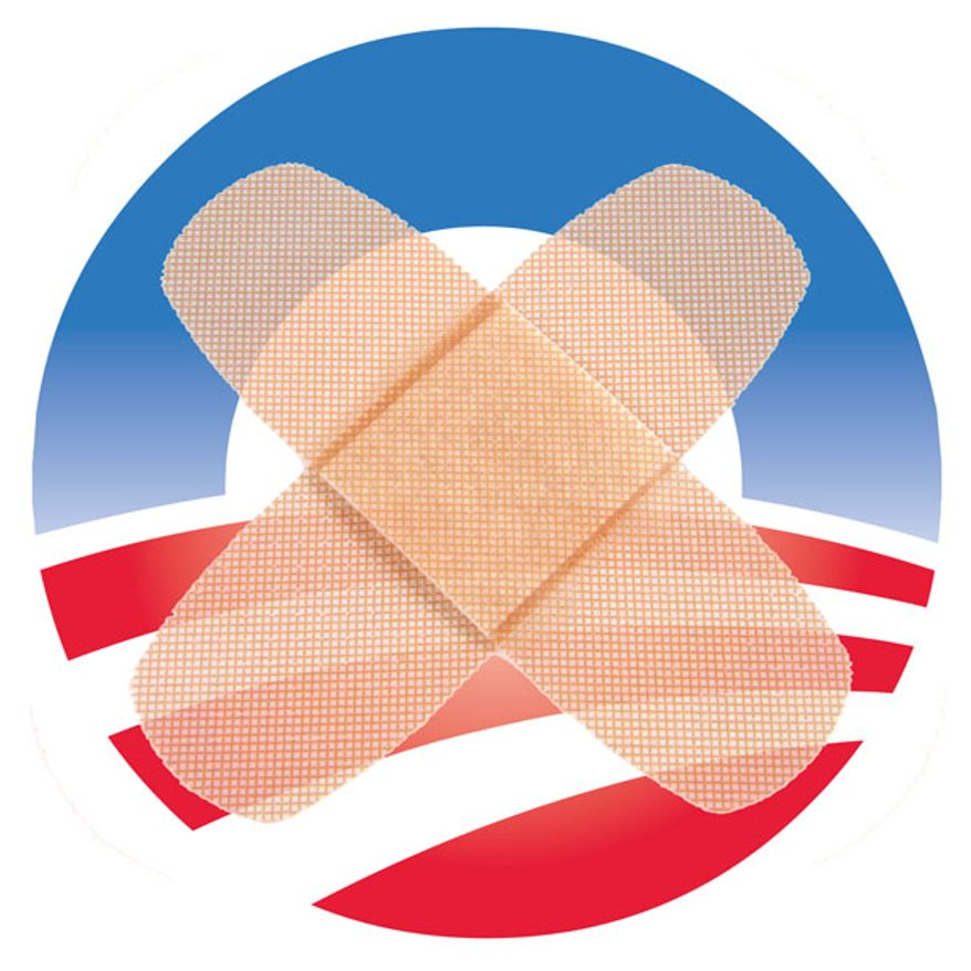 Illustration: Obamacare bandaid by Greg Groesch for The Washington Times