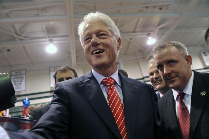 Former President Bill Clinton appears at a rally in support of first-term Rep. Michael E. McMahon, New York Democrat, on Friday, Sept. 3, 2010, on Staten Island in New York. (AP Photo/Diane Bondareff)